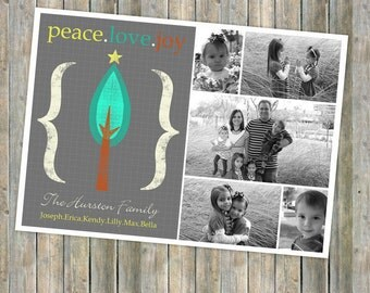 Christmas photo card, family photo card, christmas card, digital, printable file, 24.2
