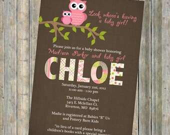 baby girl shower invitations, baby  shower invitation with owls, Digital, Printable file brown and pink