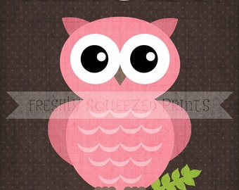 little girl name, owl poster wall art 8x10 PRINTED