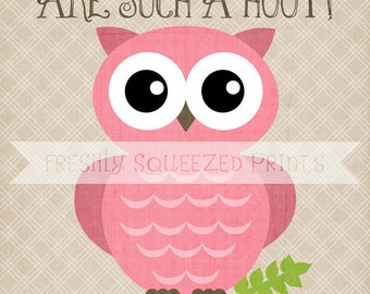 owl poster, little girls are a hoot, wall art 8x10 PRINTED