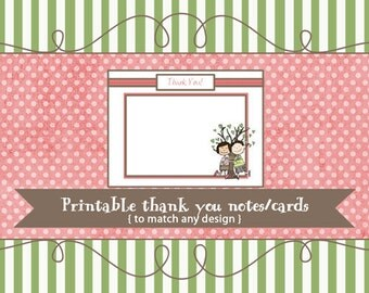 Thank you cards to match any design, printable digital file