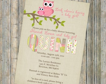 baby girl owl shower invitations, Digital, Printable file