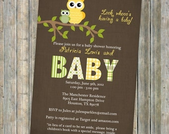 Gender Neutral owl baby shower invitations, baby  shower invitation with owls, Digital, Printable file