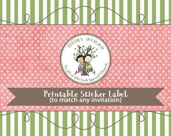 Printable sticker or address labels to match any design, printable digital file