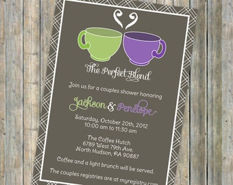Couples Shower invitation, coffee or tea, Perfect Blend couples shower, Digital Printable file