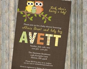 baby shower invitation, baby shower invitation with owls, boy or girl, Digital, Printable file (Brown, Green, Orange, and Yellow)