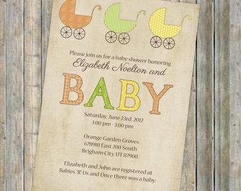 Buggy Baby shower invite, vintage buggy, Gender Neutral digital, printable file