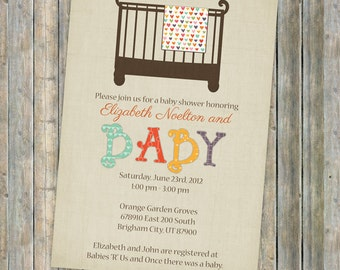 Baby shower invite, Crib and blanket Gender Neutral digital, printable file