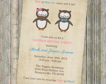 Gender Reveal Party, Gender Reveal Baby Shower with Owls Digital, Printable file