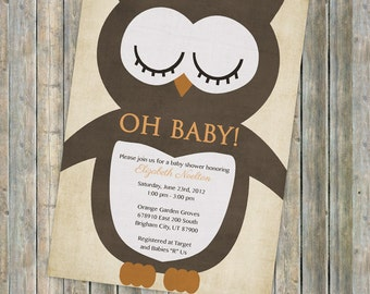 Owl Baby Shower Invitations, Neutral Baby Shower with Big Owl Digital, Printable file