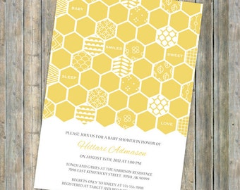 honey comb baby shower invitation, bee themed shower, digital, printable file