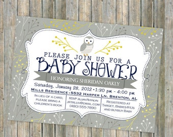 owl baby shower invitation, typography baby shower invitation, digital, printable file