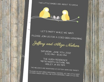 Twin baby shower, birds and nest couples baby shower  digital, printable file