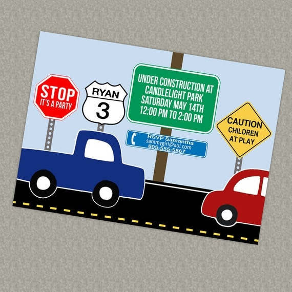 Road signs, Cars  birthday invite printable, digital file