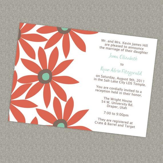 Big Modern Flowers, Wedding or Bridal Invitation, digital, printable file