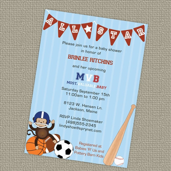 sports themed baby shower invitation all star invite mvb, Baby shower invitations