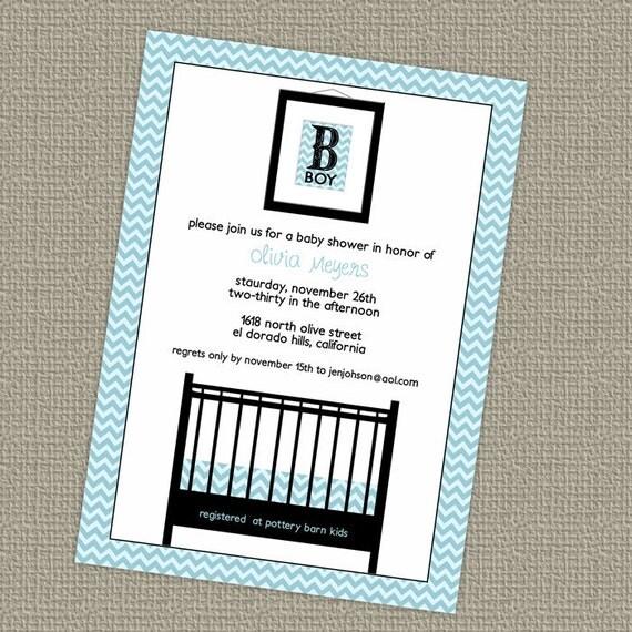 Baby boy shower invitation, printable, digital file