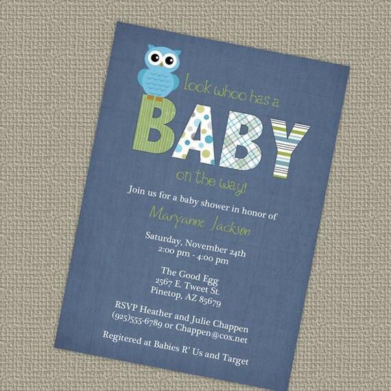 Owl Baby Shower Invitations Blue Baby Boy Shower Invitation