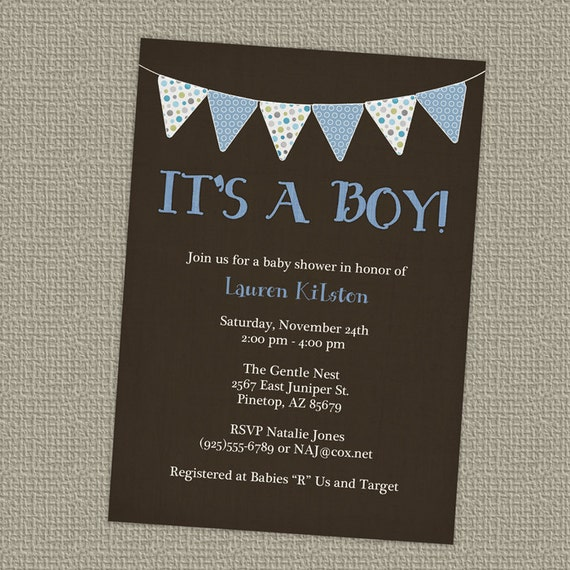 baby boy shower invitation with banner, it's a boy, digital, printable file