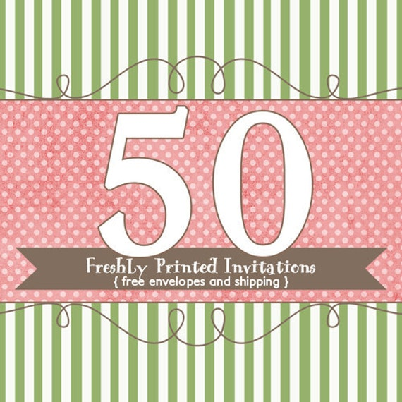 50 Printed Invitations (professional printing of 5x7 invitations or announcements)