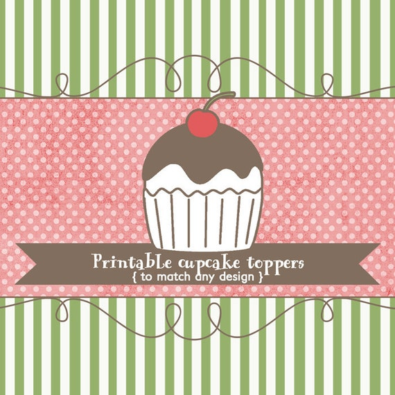 Cupcake toppers to match any design, printable digital file