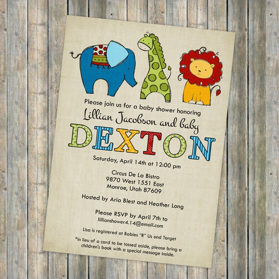 circus animal baby shower invitations, baby  shower invitation with colorful animals, Digital, Printable file gender neutral