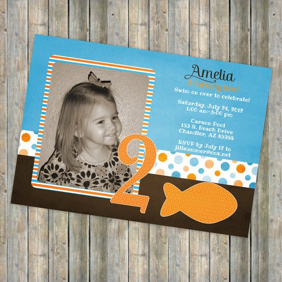 Goldfish birthday invitation with picture, printable, digital file