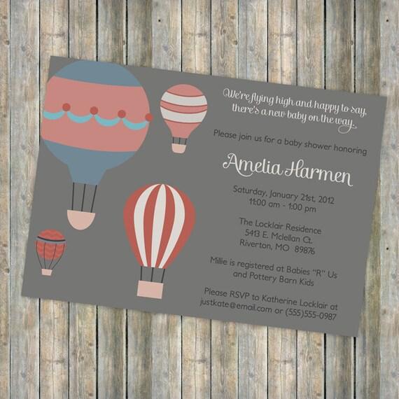 Hot air balloon baby shower, vintage feel, flying high, digital, printable file