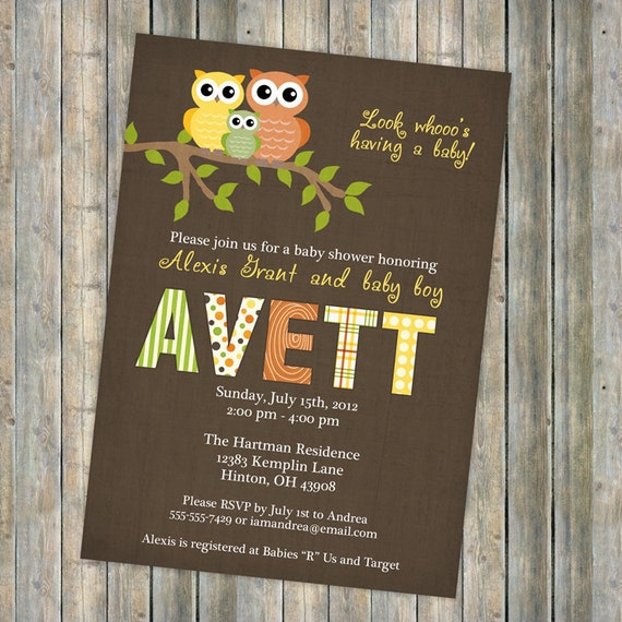 baby shower invitation, baby shower invitation with owls, boy or girl, Digital, Printable file (Brown, Green, Orange, and Yellow)