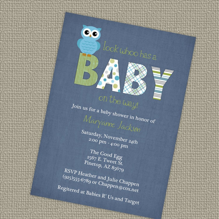 Vintage Owl Baby Shower Invitations: Owl Baby Shower Invitations Blue Baby Boy By
