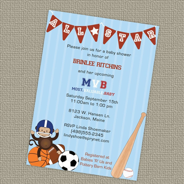 sports themed baby shower invitation, all star invite, mvb, Baby shower invitations