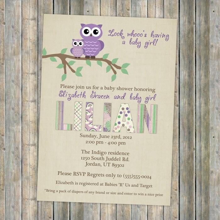 Owl Baby Shower Invitations Purple Baby Shower Invitation