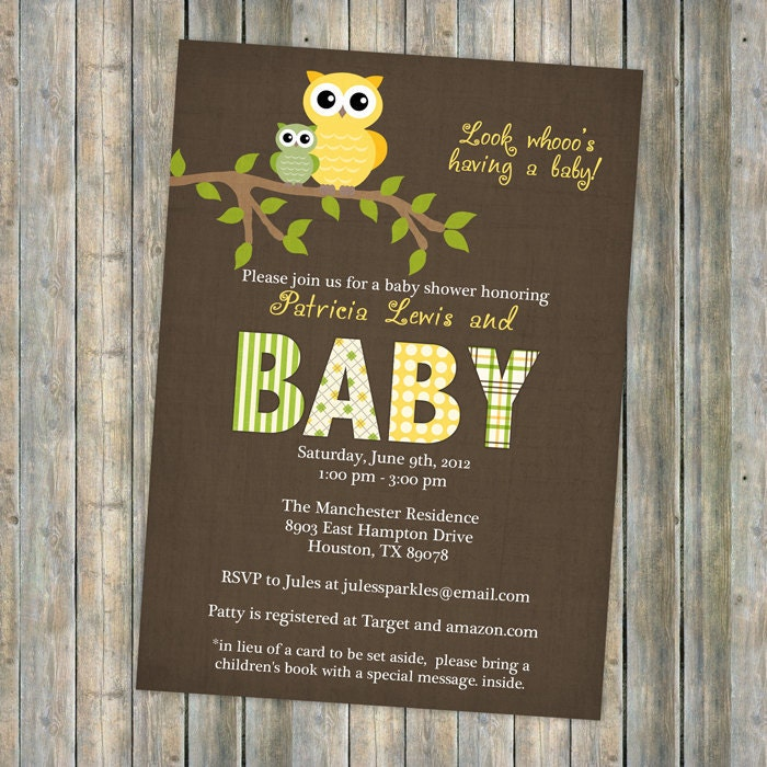 gender neutral owl baby shower invitations by freshlysqueezedcards