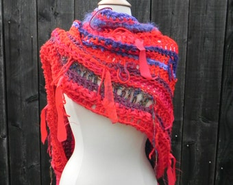 Poncho, Wrap, Shawl, Flam'n Hot Hug, Unique OOAK, Red Poncho, one of a kind