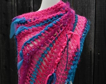 Poncho, Wrap, Shawl, Silk Wrap, Hot Pink, one of a kind, ooak, pink poncho