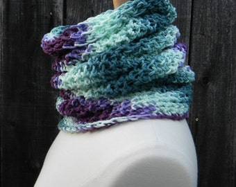 Convertible Tube Scarf Cowl Violet Mint Teal tie dye - USA grown 100% cotton Unique OOAK