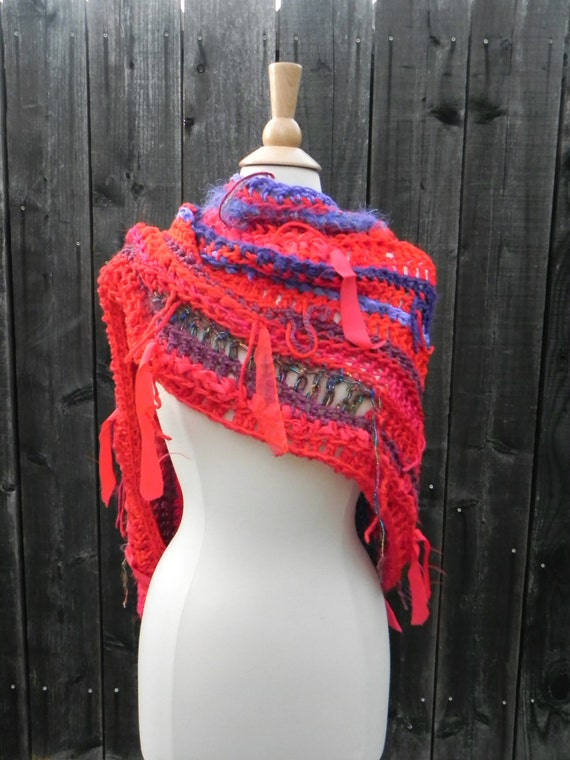 Unique OOAK Wrap Brandon's Flam'n Hot Hug in Bold Red Violet Purple Swirls Shawl Scarf Cowl reclaimed vintage silk scarves fabric n yarns