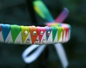 Removable Costume Brow Band Rainbow Tyedye Satin Ribbon with Silver Conchos