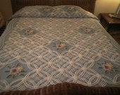 Pretty BLUE and WHITE with Floral Bouquets Vintage Chenille Bedspread - Cutter or Not - Free Shipping