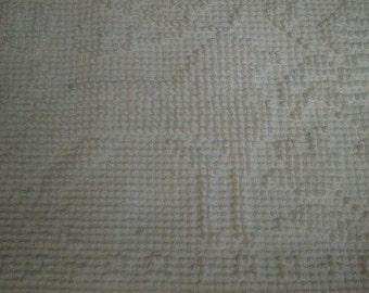 "Pennsylvania Dutch FOLK ART Design WHITE on White Vintage Fieldcrest Chenille Bedspread Fabric - 30"" X 48"" - Last Piece"