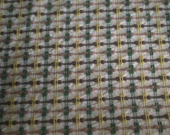 """BROWN, Green and Yellow Chenille POPS and BUTTONHOLES Vintage Chenille Bedspread Fabric - 24"""" X 24"""""""