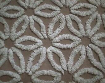"Hofmann MOCHA Brown and WHITE Daisy Vintage Chenille Bedspread Fabric - 24"" X 25"""