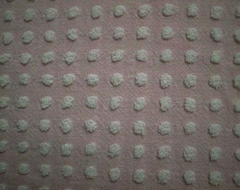 """Morgan Jones PINK with WHITE POPS Vintage Chenille Bedspread Fabric- 24"""" X 24"""""""