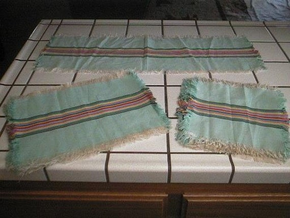 17 Piece Set of Vintage Table Linens - Aqua / Turquoise with Rainbow Stripes - 8 PLACEMATS, 8 NAPKINS and a Table RUNNER