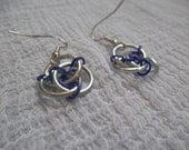 Celtic Trinity Knot Triad Chainmaille Earrings - Purple and Silver Chainmail