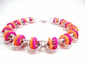 Pastel Chainmail Bracelet Purple and Orange Glow in the Dark