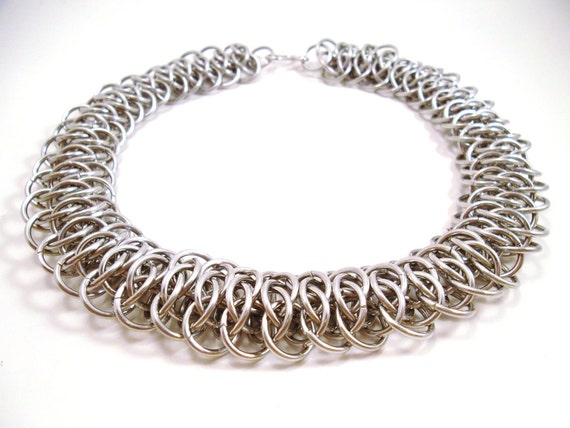 Viperscale Chainmail Necklace Silver Snakeskin