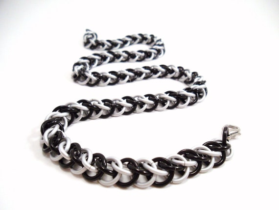 Chainmail Necklace Black White Half Persian Zebra Stripes