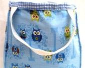 Owl Tote, Blue Tote Bag, Kids Bags, Girls Dance Bags, Tote Bag with Pockets, Handmade Bag, Girls Tote Bag, Blue Owl Bag, BeesQuality