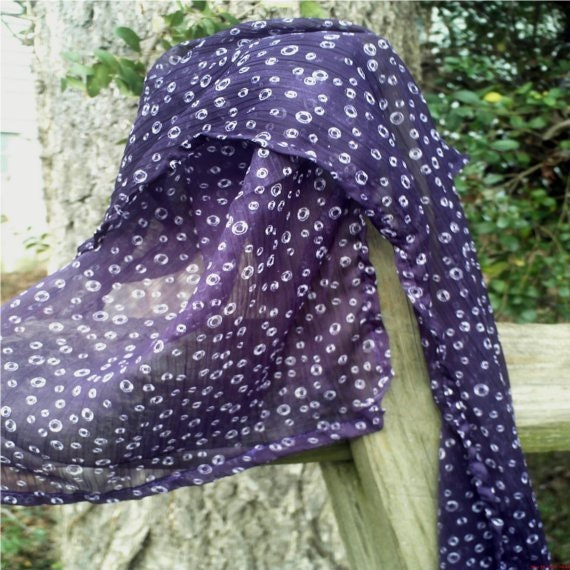 Womans Long Sheer Scarf, Soft and Sheer, Dark Purple Lightweight Spring Scarf,  BeesQualityGarments